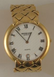 Estate Raymond Weil 18K Gold Electroplate Quartz Swiss Watch Geneve