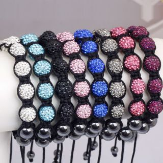 10mm CZ Disco Balls Crystal Friendship Macrame Bracelet Gift Box Free