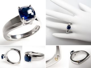 Jaffe Blue Sapphire Solitaire Engagement Ring Solid Platinum Estate