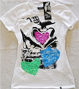 Jag Jeans White T Shirt w/Love Hearts   NWT   Girls Size L