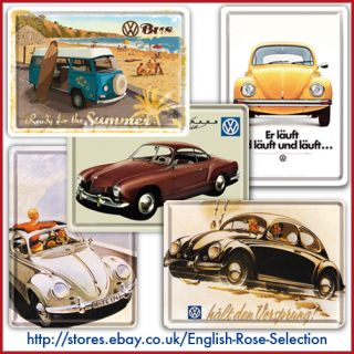 Volkswagen Metal Postcards New Collectable VW Poster Plaque Tin Sign