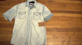 New Mens True Religion Short Sleeve Jake Phoenix Denim Shirt XXL $202