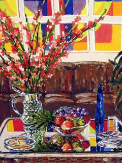 Joel M Roman F B H Still Life Original Gouache Painting Flowers Make