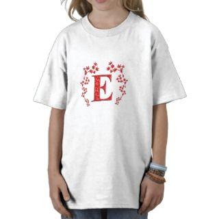 Hojas del rojo de la letra E del monograma T Shirts de