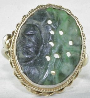 Chinese Antique Early 1900s Carved Jade Sterling Silver Ring Size 5 5