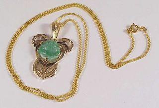 14k 585 Yellow Gold Jadeite Jade Rose Pendant Necklace