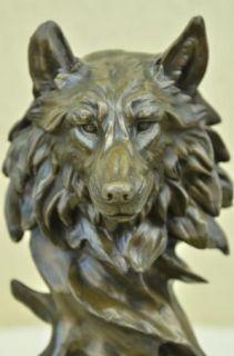 Sculpture Statue Wolf Head Bust Wild Life Garden Figurine