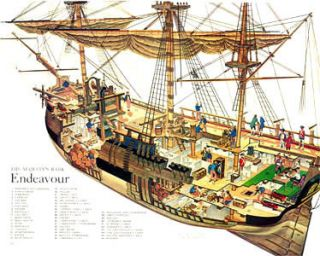 Endeavor SHIP CPT James Cook SHIP Exploded View Print