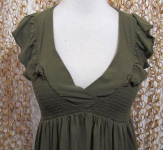 Ella Moss Anthropologie Moss Green Ruched Sleeveless Tank Top Blouse