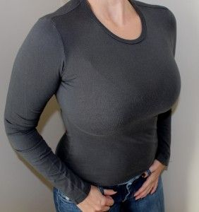 James Perse Standard Tight Stretch Long Sleeve Top 2 s Small Sexy Dark
