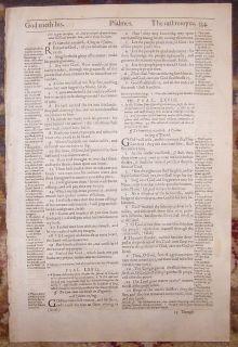 1607 Geneva Folio Roman Letter Bible Leaf The Book of Psalms