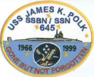 US Navy SHIP Patch USS James K Polk SSBN 645 Y
