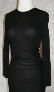 James Perse Black Stretch Knit Ruched Dress 1 XS s New Soft Tee Sexy