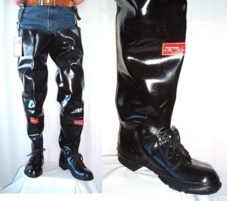 MINER TROUTKING Vtg BLACK RUBBER Hip BOOTS WADERS 7 NOS Fly Fishing