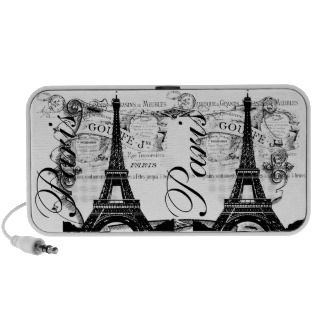 Vintage Paris Eiffel Tower Illustration Laptop Speaker