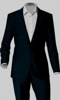 NWT $795 Hugo Boss Black Wool Trim Fit James3 Sharp5 2 button Business
