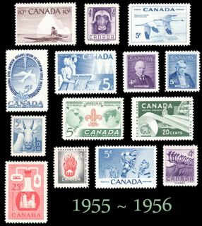 1955 1956 Complete Year Set Canada MNH Postage Stamps Mint not Hinged