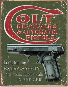 1594 METAL / TIN SIGN ~ COLT   Extra Safety ~ MADE IN THE USA  12.5
