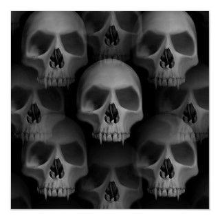 Gothic evil vampire fanged skulls Halloween horror Print