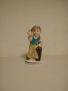Vintage Japan Figurine Boy with Umbrella and Flowers