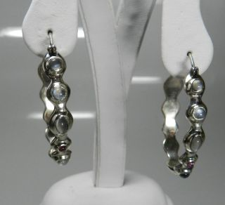 Robert Lee Morris for Elizabeth and James Sterling Gem Hoop Earrings $