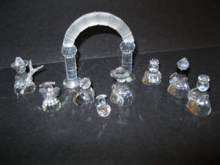 Wonderful MIB Retired Swarovski Crystal 9 Piece Christmas Nativity Set