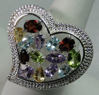 A Jaron Studio 7 7ct Multigemstone Heart Sterling Silver Ring Sz