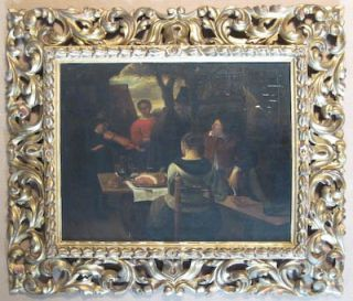 Painting on Wood Panel Copy of Jan Steens The Meal at Uffizi