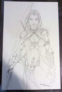 Jamie Tyndall Original Art Page 11 x 17 inches Female Warrior Based on