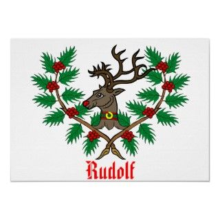 Rudolf the Red Nosed Reindeer Holly Christmas Poster by Searchlight