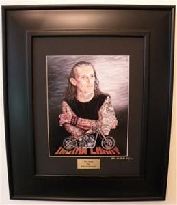 Indian Larry Bobber Motorcycle Art Ed Signed Custom Framed Print 45 w