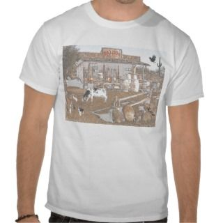 Old West Saloon photo clip art charcoal effect Tee Shirt