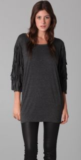 Torn by Ronny Kobo Kesha Long Sleeve Fringe Tee