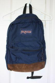 Vintage Jansport Backpack Navy Suede Leather Bottom