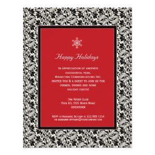 Damask Framed Holiday Party Invitation