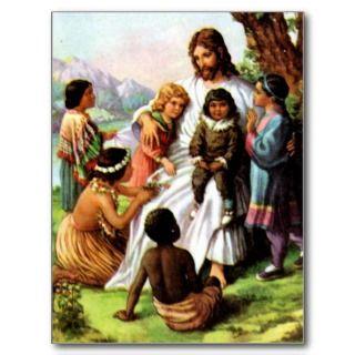 Vintage Jesus Loves Postcard
