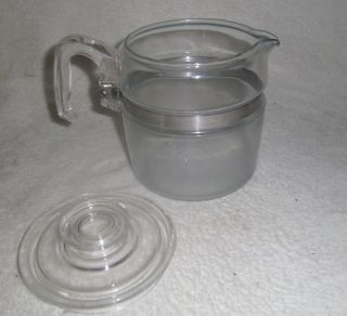 VINTAGE PYREX FLAMEWARE 6 CUP COFFEE POT & LID 7756 B 7756b CLEAR MADE