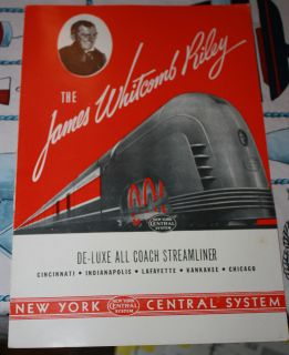 JAMES WHITCOMB RILEY dining car MENU 1940s New York Central Railroad