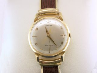 Vintage Deco Hamilton Mens Wrist Watch Automatic 14k Yellow Gold