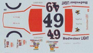 49 Glen Jarrett Bud Light Thunderbird 1 32 Slot Car Decals