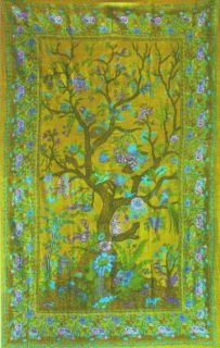 Persian Intrguing Rich Green Twin Tree of Life Tapestry Throw