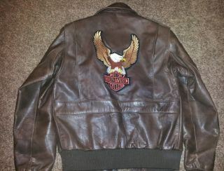 Real Leather Jacket Sz 36 Motorcycle Harley Davidson Eagle Patch