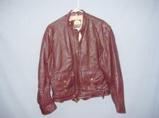 Mens Vintage Highway Man Leather Motorcycle Jacket M