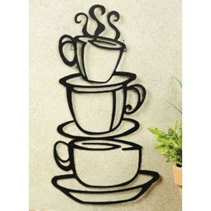 New Coffee House Cup Java Silhouette Wall Art Metal Mug