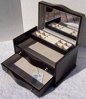 862 Java Wood Wooden Jewelry Box Ring Chest Mirrored