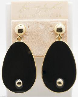 Kenneth Jay Lane Couture Goldtone Black Enamel Teardrop Earrings as Is