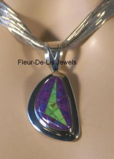 Jay King MINE FINDS Purple & Green Turquoise Inlay Pendant Sterling