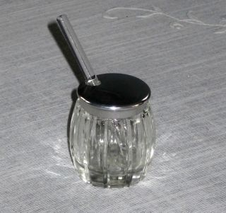 Small Glass Condiment or Spice Jar with Metal Lid and Tiny Glass Spoon