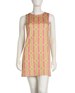 JB by Julie Brown Printed Poplin Shift Dress Pink Lime