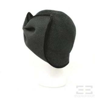 Eric Javits Black Straw Velvet Pleated Hat